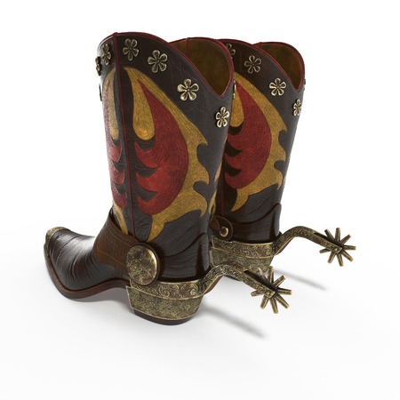 spur: Decorative cowboy boot isolated on white background. 3D illustration Stock Photo