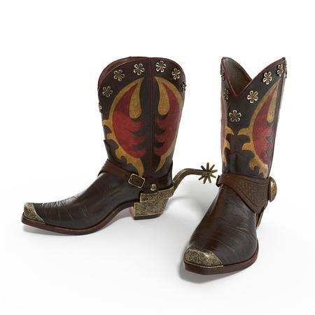 rodeo americano: rodeo vaquero botas de cuero tradicional americana con auténticos estribaciones occidentales de montar en el fondo blanco. ilustración 3D