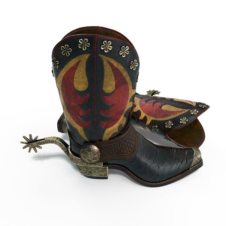 spur: Old western boots and spurs isolated on white background. 3D illustration Stock Photo