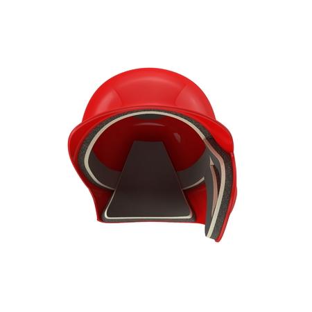 Front view of baseball batting helmet isolated on white background. 3D illustration