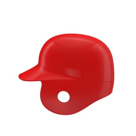 Side view of baseball helmet on white background. 3D illustration Stock Photo