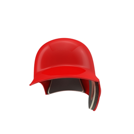 batting: Front view of baseball batting helmet isolated on white background. 3D illustration