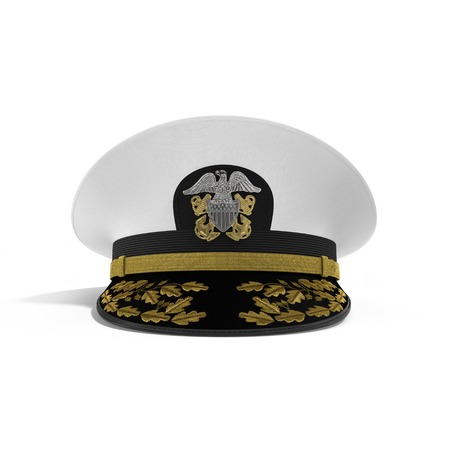 Front view admiral hat on white background. 3D illustration