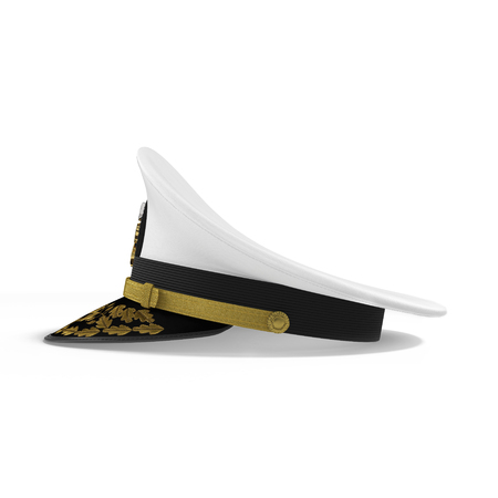 Side view navy officers cap isolated on a white background. 3D illustration Stock Photo