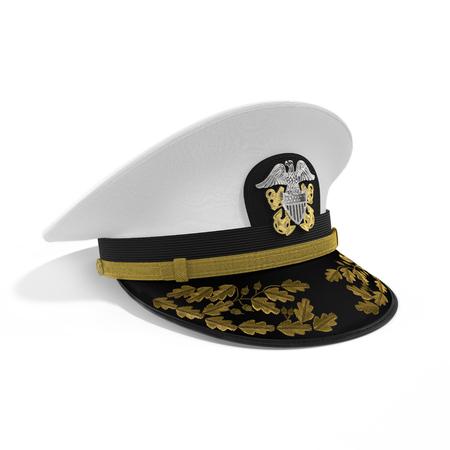 admiral: Hat naval officer on white background. 3D illustration