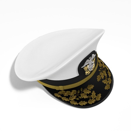 Marines hat or Naval cap with a visor on white background. 3D illustration