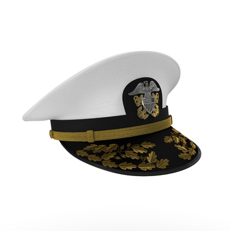 admiral: US navy officers cap isolated on a white background. 3D illustration
