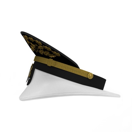 admiral: Side view navy officers cap isolated on a white background. 3D illustration Stock Photo