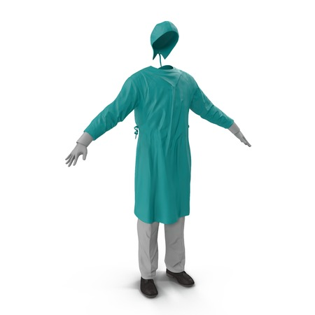 man standing alone: Medical workers clothes isolated on white background. 3D illustration Stock Photo
