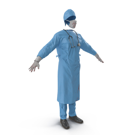 man standing alone: Surgeon dress with stethoscope isolated on white background. 3D illustration