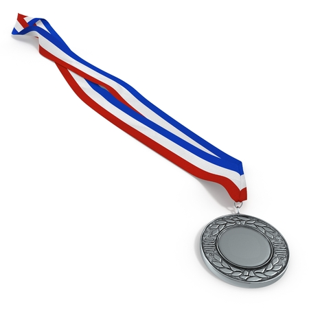 silver medal: Silver medal isolated on white background. 3D illustration