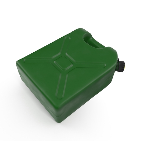 jerry: Green plastic gallon, jerry can isolated on a white background. 3D illustration