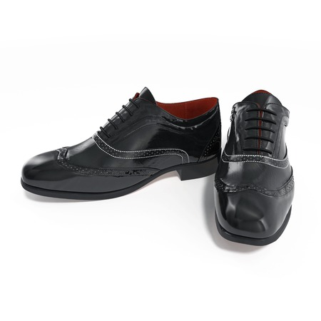 brogues: Black wingtip shoes over white background. 3D illustration Stock Photo