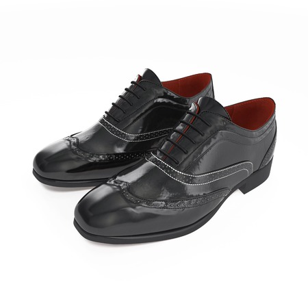 brogues: wingtip shoes on white background. 3D illustration