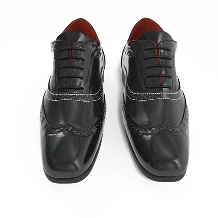 Pair of black leather brogues over white background. Front view. 3D illustration