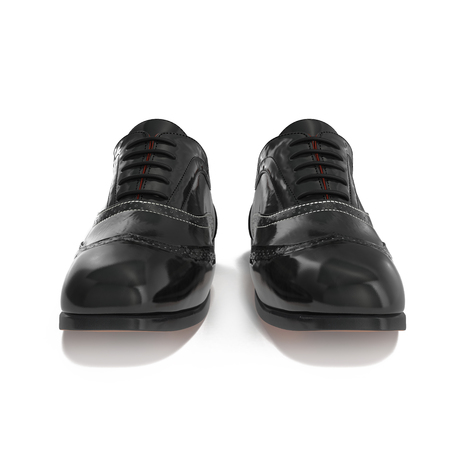brogue: Pair of black leather brogues over white background. Front view. 3D illustration