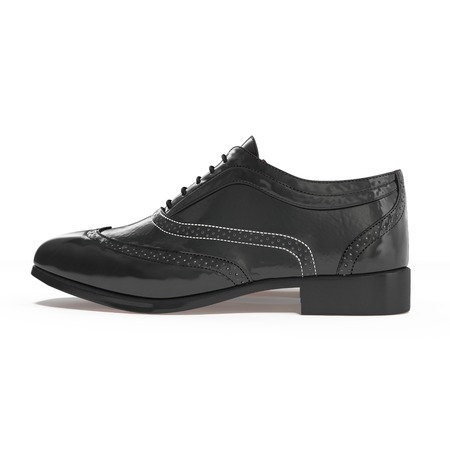 brogues: Beautiful vintage Pair of fashion black leather shoes with side view profile, isolated on white background. 3D illustration