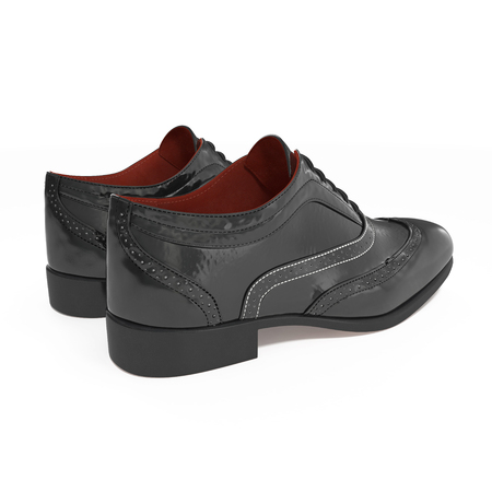 brogues: Black Brogues over white background. 3D illustration Stock Photo