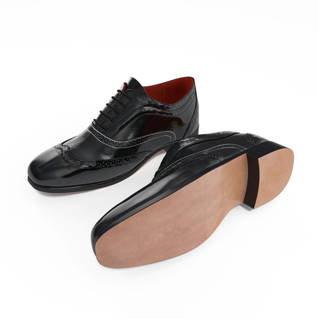 brogues: High angle view of wingtip shoes on white background. 3D illustration