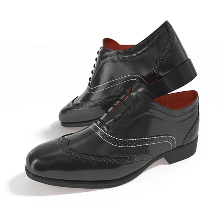 brogues: The Men Black Shoes With The Laces on white background. 3D illustration