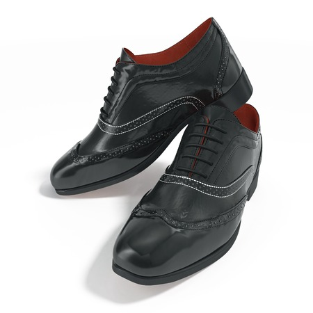 The Men Black Shoes With The Laces on white background. 3D illustration