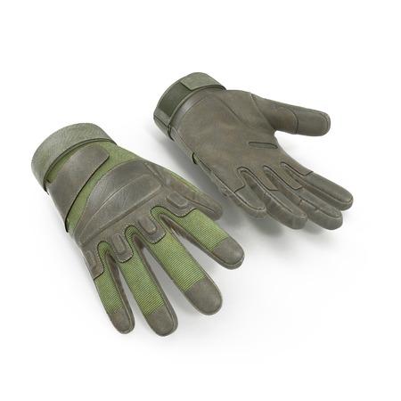 ブラック ホーク軍の戦術的な緑の手袋革。白い背景に米国兵士手袋。3 D イラストレーション