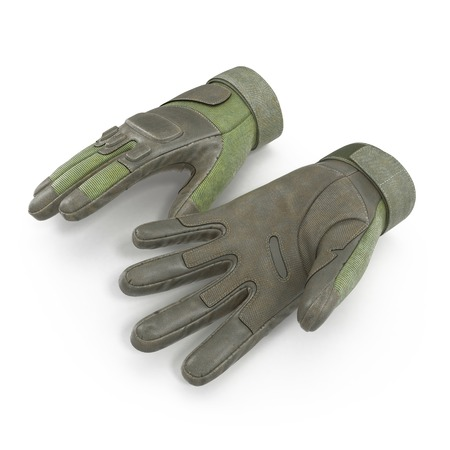 tactical: Blackhawk military tactical green gloves leather. US Soldier gloves on white background. 3D illustration