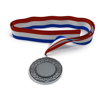silver medal: Sport medal from silver on white background. 3D illustration Stock Photo