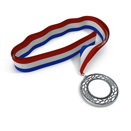 Silver medal on white-blue-red ribbon isolated on white background. 3D illustration Stock Photo