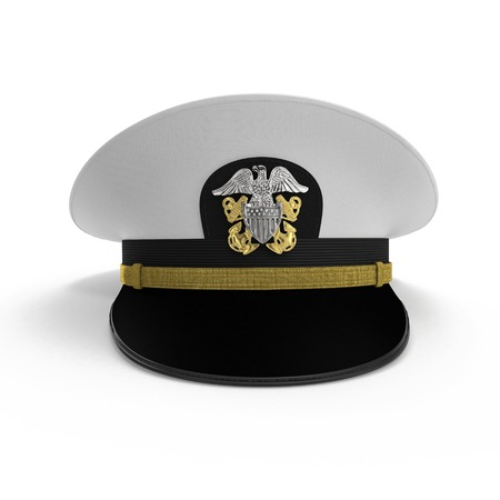 admiral: Front view admiral hat on white background. 3D illustration
