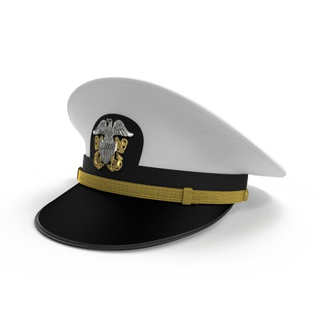 hat with visor: Marines hat or Naval cap with a visor on white background. 3D illustration