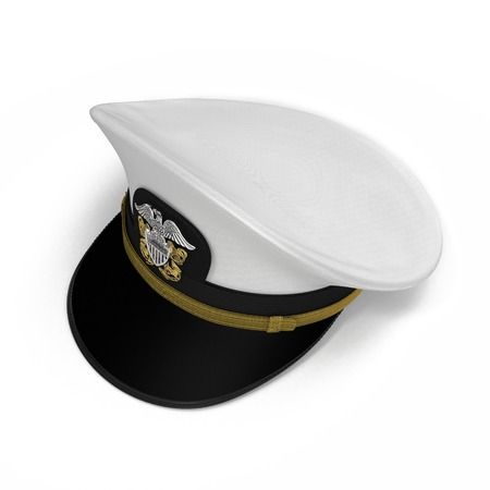 admiral: Peak admiral Cap bottom on white background. 3D illustration