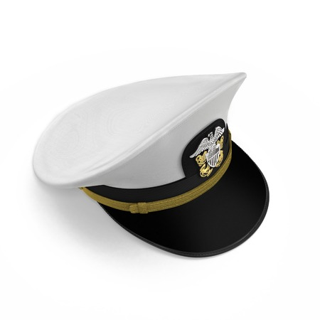 US navy officers cap isolated on a white background. 3D illustration