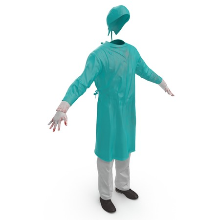 Green doctor uniform stained with blood isolated on white background. No people. 3D illustration