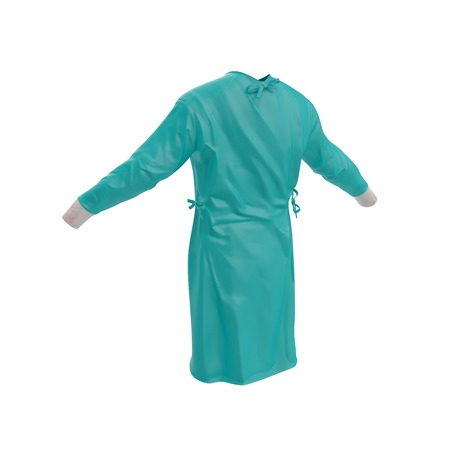Green surgeon dress. Back view. Isolated on white background. 3D illustration