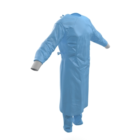 Surgeon dress isolated on white background. 3D illustration