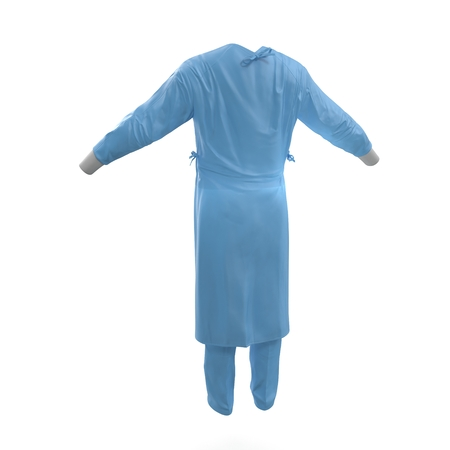 Blue surgeon dress. Back view. Isolated on white background. 3D illustration