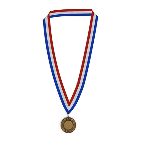 bronze medal: Bronze medal with tricolor ribbon on white background. 3D illustration Stock Photo