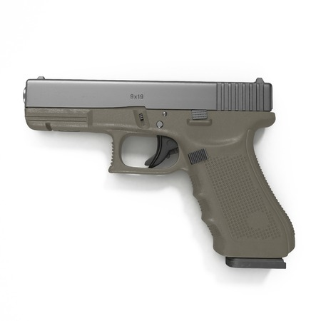 top gun: Semi-automatic pistol isolated on a white background. 3D illustration