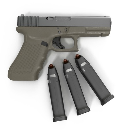 top gun: Semi automatic pistol with magazine and ammo on a white background. 3D illustration