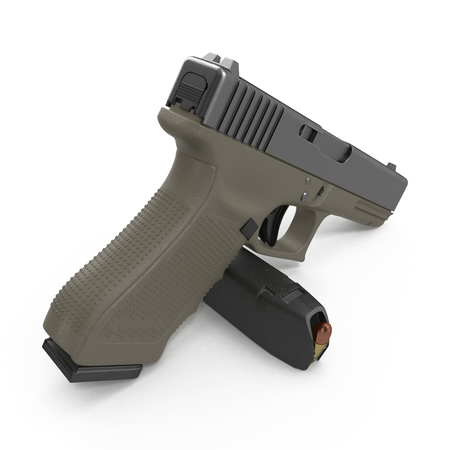 ammo: Semi automatic pistol with magazine and ammo on a white background. 3D illustration