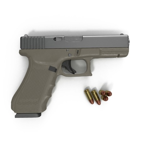 top gun: Automatic pistol with ammo on white background. 3D illustration