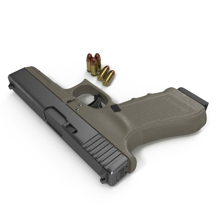ammo: Automatic pistol with ammo on white background. 3D illustration