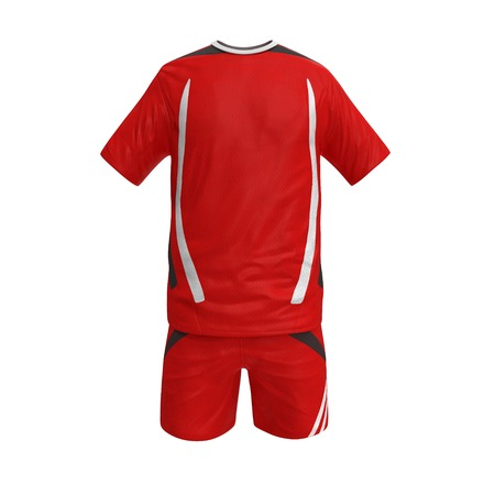 soccer uniform: Front view T-shirt , shorts, soccer uniform, isolated on white background. 3D illustration Stock Photo