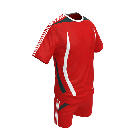 Red polyester nylon soccer sportswear shorts and shirt isolated on white background. 3D illustration