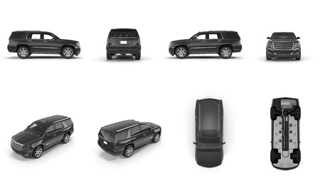 4x4 suv car renders set from different angles on white background. 3D illustration