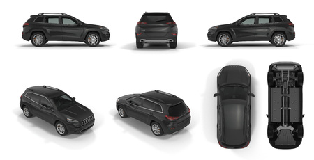 4x4 suv car renders set from different angles on a white background. 3D illustration
