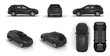 4x4 suv auto renders ingesteld vanuit verschillende hoeken op een witte achtergrond. 3D illustratie