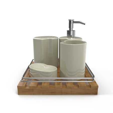 bathe mug: Bathroom accessories on white background 3D Illustration Stock Photo