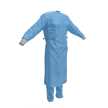 dirty clothes: Green doctor uniform stained with blood isolated on white background. No people. 3D illustration